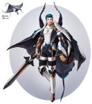 1boy abs black_pants blue_hair cape covered_abs full_body gloves highres holding holding_sword holding_weapon male_focus manta_ray open_mouth original pants rinotuna shadow short_hair smile solo sparkle standing sword weapon white_gloves