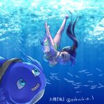 1boy 1girl bikini blue_eyes chinyan commentary_request dragon_quest dragon_quest_xi fish green_bikini hero_(dq11) highres long_hair martina_(dq11) ocean ponytail purple_hair side-tie_bikini swimming swimsuit transformation twitter_username underwater violet_eyes