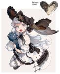 1girl black_footwear black_headwear doll dress frilled_hat frills grey_eyes hat highres holding long_hair looking_at_viewer open_mouth original oyster rinotuna shadow shoes short_sleeves solo thigh-highs white_dress white_hair white_legwear