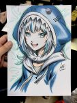 :d animal_costume animal_hood bangs blue_eyes blue_hair blue_theme blunt_bangs cropped_shoulders english_commentary eyelashes gawr_gura highres hime_cut hololive hololive_english hood looking_at_viewer multicolored_hair open_mouth paper_(medium) paper_background photo_(medium) shark_costume shark_girl shark_hood sharp_teeth shirt signature simple_background smile stanley_lau streaked_hair teeth traditional_media virtual_youtuber water white_background white_hair white_shirt
