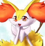 1girl :3 animal_ear_fluff animal_ears animal_nose body_fur braixen commentary english_commentary eryz fangs flat_chest fox_ears fox_girl fox_tail furry gen_6_pokemon hand_to_own_mouth hand_up happy highres open_mouth pokemon pokemon_(creature) red_eyes simple_background smile snout solo sparkle sparkling_eyes stick tail two-tone_fur upper_body white_background white_fur yellow_fur