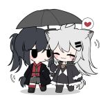 2girls animal_ears arknights black_dress black_eyes black_footwear black_hair black_jacket black_umbrella blush_stickers boots chibi closed_eyes closed_mouth collared_shirt diagonal-striped_neckwear diagonal_stripes dress full_body green_neckwear grey_hair grey_shorts hair_ornament hairclip heart highres holding holding_umbrella jacket lappland_(arknights) long_hair long_sleeves mouth_hold multiple_girls necktie open_clothes open_jacket ponytail red_legwear red_shirt scar scar_across_eye shadow shirt shorts smile socks spoken_heart striped striped_neckwear striped_shorts texas_(arknights) umbrella vertical-striped_shorts vertical_stripes very_long_hair white_background xijian
