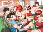 3girls 4boys bangs beard biceps black_eyes black_hair blonde_hair blue_eyes braid brown_hair cammy_white chun-li copyright_name double_bun facial_hair food french_fries green_leotard hamburger hat highres holding holding_food indoors kasugano_sakura ken_masters leotard long_hair looking_at_viewer multiple_boys multiple_girls muscular muscular_male ponytail red_headwear ribbon ryu_(street_fighter) shadow short_hair sitting sleeveless street_fighter table tina_fate v vega yellow_ribbon zangief