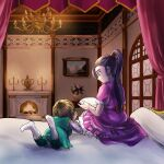 1boy 1girl bedroom book bow brown_hair candle candlestand chandelier child chinyan commentary_request dragon_quest dragon_quest_xi dress fireplace frilled_dress frills green_tabard hair_ornament hair_scrunchie hero_(dq11) highres holding holding_book long_hair lying martina_(dq11) on_bed on_stomach orange_scrunchie picture_(object) picture_frame ponytail purple_dress purple_hair red_bow scrunchie sitting sitting_on_bed teenage violet_eyes white_footwear younger