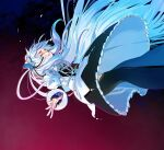 1girl butterfly_hair_ornament chaika_trabant closed_eyes dress falling feet_out_of_frame hair_ornament highres hitsugi_no_chaika kaede_(shijie_heping) long_hair long_sleeves parted_lips puffy_sleeves silver_hair solo tears thigh-highs two-tone_background very_long_hair