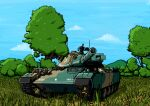 caterpillar_tracks clouds commentary_request daijobuda day flower forest grass ground_vehicle gun machine_gun military military_vehicle motor_vehicle mountain nature no_humans sky tank tree type_74 war_thunder weapon