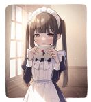 1girl apron blurry blurry_background blush brown_eyes brown_hair commentary goshi-san highres holding holding_letter indoors letter light_rays looking_at_viewer maid maid_apron maid_headdress original solo sunbeam sunlight twintails window