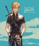 1boy bangs belt black_belt black_pants black_shirt blonde_hair blue_background blue_eyes blue_sky bracelet clouds commentary_request contemporary copyright_name cowboy_shot day hair_between_eyes hands_in_pockets highres jewelry link m/g male_focus necklace pants pendant pointy_ears shirt short_hair short_sleeves sky solo standing sword sword_behind_back the_legend_of_zelda the_legend_of_zelda:_breath_of_the_wild triforce weapon weapon_on_back