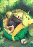 closed_eyes commentary_request day from_above gen_2_pokemon gen_5_pokemon gen_7_pokemon highres lying no_humans nullma on_back outdoors paws pokemon pokemon_(creature) quilava red_eyes rowlet serperior signature sleeping starter_pokemon toes