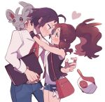 1boy 1girl bag baseball_cap belt blush brown_hair cheren_(pokemon) closed_mouth collared_shirt commentary_request eye_contact eyelashes face-to-face gen_5_pokemon hat hat_removed headwear_removed heart highres hilda_(pokemon) holding long_hair looking_at_another minccino necktie ohds101 pants pokemon pokemon_(creature) pokemon_(game) pokemon_bw pokemon_bw2 ponytail red_neckwear shirt shorts sidelocks smile vest white_shirt wristband