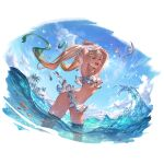 1girl :d armpits arms_up ass_visible_through_thighs bangs bikini bikini_skirt bird blonde_hair blue_eyes blue_sky blush clouds dark_skin dark_skinned_female day fish fisheye gradient_hair granblue_fantasy green_hair io_euclase lips long_hair looking_at_viewer minaba_hideo multicolored_hair navel ocean official_art open_mouth outdoors palm_tree parted_bangs shirt_lift sky smile solo standing swimsuit transparent_background tree twintails upper_teeth very_long_hair wading water wet