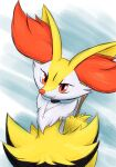 1girl animal_ear_fluff animal_ears animal_nose arms_behind_back artist_name black_choker black_fur blue_background body_fur braixen choker closed_mouth commentary dated english_commentary eryz flat_chest fox_ears fox_girl fox_tail furry gen_6_pokemon happy head_tilt highres jewelry jpeg_artifacts looking_at_viewer necklace pokemon pokemon_(creature) red_eyes sideways_mouth signature simple_background sketch smile snout solo standing stick tail upper_body white_fur yellow_fur