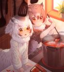 2girls arm_support bangs black_hair blush brown_hair brown_jacket chili_pepper closed_mouth coat cooking drooling eurasian_eagle_owl_(kemono_friends) food gradient_hair hair_between_eyes highres indoors jacket kemono_friends kitchen ladle leaning_forward long_sleeves multicolored_hair multiple_girls northern_white-faced_owl_(kemono_friends) open_mouth orange_eyes owl_ears owl_girl plant pot potted_plant red_eyes silver_hair soup spatula st.takuma steam tongs v-shaped_eyebrows white_coat