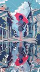 1boy 2girls absurdres bag black_skirt blue_eyes bookbag building bush clouds day different_reflection droplet fence fish highres holding holding_umbrella huge_filesize ichigoame kaijuu_no_kodomo loose_socks multiple_girls outdoors power_lines red_umbrella reflection scenery school_of_fish school_uniform shirt shoes shorts skirt sneakers umbrella underwater water white_shirt