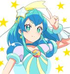 1girl arm_up blue_choker blue_eyes blue_hair choker closed_mouth collarbone cure_milky floating_hair hair_ornament hairband highres kousuke0912 long_hair precure see-through shiny shiny_hair sketch smile solo star-shaped_pupils star_(symbol) star_hair_ornament star_twinkle_precure starry_background symbol-shaped_pupils upper_body v yellow_hairband