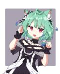1girl ahoge animal_ear_fluff animal_ears bangs bare_shoulders black_dress cat_ears clenched_hands collarbone detached_collar dress eyebrows_visible_through_hair fang gothic_lolita green_hair hair_ornament highres hololive imosalad kemonomimi_mode lolita_fashion off-shoulder_dress off_shoulder open_mouth red_eyes short_hair short_twintails skin_fang skull_hair_ornament solo twintails uruha_rushia virtual_youtuber wrist_cuffs