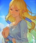 1girl bangle blonde_hair blue_sky blush bracelet breasts closed_mouth clouds cloudy_sky commentary day dress grin hair_tubes hands_together happy_tears jewelry long_hair looking_at_viewer medium_breasts mimme_(haenakk7) outdoors pointy_ears princess_zelda sidelocks sky smile solo straight_hair tears the_legend_of_zelda the_legend_of_zelda:_skyward_sword triforce twitter_username upper_body white_dress wind