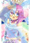 1girl :d animal_ears apple_hair_ornament arm_up bare_shoulders bell belle_sprout blue_eyes blue_hair blue_shirt bow choker commentary_request crescent crescent_hair_ornament crop_top ear_piercing flower food_themed_hair_ornament hair_flower hair_ornament hairclip indie_virtual_youtuber jingle_bell kouu_hiyoyo long_sleeves looking_at_viewer midriff multicolored_hair navel off-shoulder_shirt off_shoulder open_mouth piercing pink_bow pink_choker pleated_skirt puffy_long_sleeves puffy_sleeves purple_hair purple_skirt shirt skirt sleeves_past_wrists smile solo star_(symbol) star_hair_ornament strawberry_hair_ornament two-tone_hair violet_eyes virtual_youtuber w x_hair_ornament yellow_flower