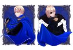 1boy bangs black_jacket blonde_hair blue_cape blue_eyes blue_flower blue_rose cape capri_(blaue0514) closed_eyes commentary_request cup dimitri_alexandre_blaiddyd eyepatch fire_emblem fire_emblem:_three_houses flower from_side fur-trimmed_cape fur_trim garreg_mach_monastery_uniform hair_between_eyes highres holding holding_cup holding_flower jacket male_focus multiple_views profile rose short_hair teacup upper_body vambraces white_background