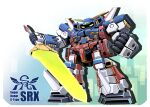 chibi clenched_hands holding holding_sword holding_weapon looking_down mecha no_humans science_fiction sibelurabbi srx super_robot super_robot_wars super_robot_wars_original_generation sword v-fin weapon yellow_eyes