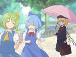 3girls alternate_costume ascot bag blonde_hair blue_bow blue_dress blue_hair blue_wings blush bow cirno closed_eyes crystal daiyousei day dress eyebrows_visible_through_hair flandre_scarlet hair_bow highres holding holding_bag ice ice_wings jitome kanpa_(campagne_9) lake long_sleeves multiple_girls neckerchief necktie open_mouth outdoors pinafore_dress puffy_short_sleeves puffy_sleeves railing red_bow red_eyes sailor_collar satchel school_uniform serafuku short_hair short_sleeves touhou tree wings yellow_neckwear