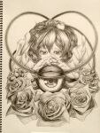 1girl expressionless eyeball eyelashes fingernails flower frilled_sleeves frills graphite_(medium) hairband heart highres komeiji_satori looking_at_viewer notebook photo_(medium) rose sek-it short_hair solo third_eye touhou traditional_media wide_sleeves