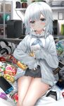 1girl :o absurdres bag_of_chips black_skirt blue_eyes blue_jacket blue_neckwear blurry blurry_background blush breasts cellphone cellphone_charm chips computer controller depth_of_field feet_out_of_frame food food_on_face game_controller headphones headphones_removed highres holding holding_food indoors jacket keyboard_(computer) long_hair long_sleeves looking_at_viewer medium_breasts monitor neckerchief neku_(neku_draw) nintendo_switch open_clothes open_jacket original parted_lips phone plant pleated_skirt potato_chips potted_plant ramen sailor_collar school_uniform serafuku shelf shirt sitting skirt sleeves_past_wrists solo white_hair white_sailor_collar white_shirt