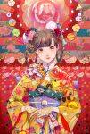 1girl bangs brown_eyes brown_hair commentary_request flower highres japanese_clothes kimono long_hair long_sleeves micho mouse obi original print_kimono sash smile solo upper_body wide_sleeves