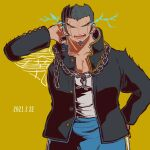 1boy black_jacket blue_pants chain closed_eyes collarbone commentary_request danganronpa_(series) danganronpa_2:_goodbye_despair dated energy facial_hair facing_viewer goatee gold_chain grey_shirt hair_slicked_back hand_on_head hand_up jacket kiri_(2htkz) long_sleeves male_focus nidai_nekomaru open_clothes open_jacket open_mouth pants pectorals shirt shirt_tucked_in short_hair simple_background trembling yellow_background