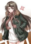 1girl absurdres alternate_hairstyle artist_logo beige_dress brown_background coat commentary_request dress fur-trimmed_jacket fur_trim gradient gradient_background green_eyes green_jacket grey_hair hands_in_pockets highres jacket kantai_collection kentan_(kingtaiki) long_hair looking_at_viewer official_alternate_costume ribbed_dress ribbed_sweater solo sweater sweater_dress white_background winter_clothes winter_coat zuikaku_(kancolle)