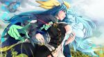 1boy 2girls bangs belt blue_hair breasts choker cleavage_cutout clothing_cutout clouds cloudy_sky dated dizzy_(guilty_gear) fingernails from_side gears glowing glowing_eyes grass green_eyes guilty_gear guilty_gear_xrd hair_between_eyes hair_ribbon hair_rings highres kazekyou_tekito large_breasts lips long_hair midriff multiple_girls navel necro_(guilty_gear) red_eyes ribbon signature skull sky tail twintails undine_(guilty_gear) wide_sleeves yellow_ribbon