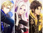 1girl 2boys bangs black_jacket blonde_hair blue_eyes braid brown_hair capri_(blaue0514) claude_von_riegan column_lineup commentary_request dimitri_alexandre_blaiddyd edelgard_von_hresvelg fire_emblem fire_emblem:_three_houses forehead garreg_mach_monastery_uniform green_eyes grey_background hair_ribbon highres jacket long_hair long_sleeves looking_at_viewer multiple_boys purple_ribbon ribbon short_hair silver_hair single_braid upper_body vambraces violet_eyes