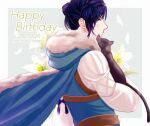 1boy black_cat blue_cape blue_hair blue_jacket brown_eyes cape capri_(blaue0514) cat character_name commentary_request dated felix_hugo_fraldarius fire_emblem fire_emblem:_three_houses flower from_side fur-trimmed_jacket fur_trim happy_birthday jacket long_sleeves male_focus profile short_hair upper_body white_flower