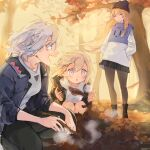 3girls autumn autumn_leaves black_jacket black_pants blonde_hair food girls_frontline grey_hair highres jacket leaf m200_(girls_frontline) multiple_girls open_clothes open_jacket open_mouth outdoors pants pantyhose shirt short_hair shuzi sl8_(girls_frontline) smile standing swatting sweet_potato tree vhs_(girls_frontline) violet_eyes white_shirt woollen_cap