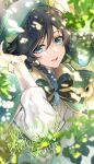1boy androgynous bangs beret black_hair blue_hair bow braid cape character_name collared_cape collared_shirt commentary_request dappled_sunlight dated english_text eyebrows_visible_through_hair flower frilled_sleeves frills genshin_impact gradient_hair green_eyes green_headwear hair_flower hair_ornament hand_on_own_head happy_birthday hat heart highres leaf long_sleeves looking_at_viewer male_focus matori_(penguin_batake) multicolored_hair open_mouth shirt short_hair_with_long_locks signature smile solo sunlight symbol_commentary twin_braids twitter_username venti_(genshin_impact) white_flower white_shirt