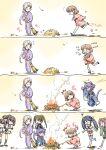 6+girls animal_ears brush cat_ears cat_tail chitose_(kancolle) chiyoda_(kancolle) fire food ise_(kancolle) isuzu_(kancolle) japanese_clothes kantai_collection kimono leaf multiple_girls shimamoto_harumi simple_background smile smoke sweet_potato tail tama_(kancolle) yukata zuihou_(kancolle) zuikaku_(kancolle)