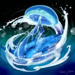 artist_name blue_theme jellyfish kaijuu_no_kodomo lens_flare no_humans water whale yanp