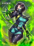 1girl bob_cut bodysuit breasts brown_hair character_name commentary_request copyright_name eyebrows_visible_through_hair gas_mask gia green_bodysuit green_hair green_theme highres looking_at_viewer mask medium_breasts ninja_mask short_hair skin_tight solo uneven_eyes valorant viper_(valorant)