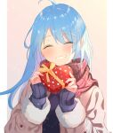 1girl ahoge azur_lane beige_coat blue_hair box closed_eyes coat eyebrows_visible_through_hair gift gift_box heart-shaped_box helena_(azur_lane) highres holding holding_gift long_hair open_clothes open_coat plaid plaid_scarf purple_sweater red_scarf scarf simple_background smile solo sweater teeth vayneeeee