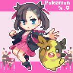 asymmetrical_bangs backpack bag bangs black_choker black_hair black_jacket blue_eyes boots choker dress earrings gen_8_pokemon hair_ribbon jacket jewelry lowres marnie_(pokemon) medium_hair morpeko morpeko_(full) open_clothes open_jacket oyuzaki_(ayuzaki) pink_dress pixel_art pokemon pokemon_(game) pokemon_swsh ribbon team_yell twintails