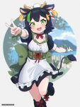 1girl :d animal_ears apron back_bow bangs black_dress black_footwear black_hair blush boots bow breasts commentary_request copyright_request cow_ears cow_horns cow_tail dress ear_tag eyebrows_visible_through_hair frilled_apron frills green_bow green_eyes green_ribbon high_heel_boots high_heels highres horns knee_boots kuro_kosyou maid_headdress open_mouth outstretched_arm puffy_short_sleeves puffy_sleeves ribbon short_sleeves small_breasts smile solo standing standing_on_one_leg tail tail_ornament tail_ribbon v virtual_youtuber waist_apron white_apron