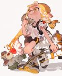 0_05kmgrn 1girl absurdres bike_shorts blonde_hair blush bow_(weapon) braid bulging_eyes domino_mask fish full_body grey_background highres inkling looking_away mask mohawk pointy_ears red_eyes redhead salmonid shirt shoe_soles shoes simple_background smallfry_(splatoon) smile sneakers splatoon_(series) splatoon_3 t-shirt tentacle_hair torn_clothes torn_shirt walking weapon yellow_eyes