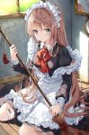 1girl apron aqua_eyes bandaid bandaid_on_leg black_dress blush bow bowtie breasts broom brown_hair closed_mouth commentary_request crying crying_with_eyes_open dress frilled_apron frills hair_ornament hairclip highres holding holding_broom indoors juliet_sleeves long_hair long_sleeves m1yu maid maid_headdress medium_breasts on_floor original puffy_sleeves red_bow red_neckwear sitting solo strap_slip tassel tears very_long_hair wariza white_apron window wooden_floor