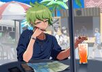 3girls 4boys amami_rantarou antenna_hair bangs bracelet collarbone cup danganronpa_(series) danganronpa_v3:_killing_harmony drinking_glass drinking_straw earrings green_eyes green_hair hand_on_own_chin hand_up highres jewelry kuangtai_(amami_ryoko) male_focus map multiple_boys multiple_girls necklace notebook outdoors palm_tree pen people ring shiny shiny_hair shirt short_hair sitting sleeves_pushed_up solo_focus striped striped_shirt table thinking tree