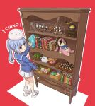 1girl angora_rabbit animal_on_head blue_eyes blue_hair blue_ribbon book bookshelf bottle bunny_on_head chessboard clock coffee_grinder doorknob eyepatch gochuumon_wa_usagi_desu_ka? hair_ornament highres hoto_cocoa in_bottle in_container kafuu_chino mohei on_head open_mouth plant portrait rabbit ribbon school_uniform serafuku ship ship_in_a_bottle skirt slippers socks stuffed_animal stuffed_bunny stuffed_toy tippy_(gochiusa) watercraft x_hair_ornament