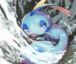 blue_eyes bright_pupils commentary gen_8_pokemon highres looking_back no_humans nullma open_mouth pokemon pokemon_(creature) sobble solo starter_pokemon tongue water water_drop