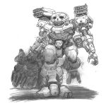 atlas_(battletech) battletech black_eyes capitan_06 graphite_(medium) mecha missile_pod no_humans open_hand science_fiction solo_focus traditional_media walking white_background