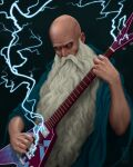 1boy artist_name bald beard black_background blue_cloak cigarette cloak commentary_request electric_guitar facial_hair guitar holding holding_instrument instrument lips looking_at_viewer male_focus manly music no_pupils old old_man original playing_instrument realistic sevi solo upper_body white_eyes wide_sleeves wizard