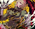 1boy belt black_belt blonde_hair claws commentary_request diego_brando dinosaur_tail english_text floating_hair gloves green_eyes hair_over_one_eye hand_up jojo_no_kimyou_na_bouken kiki_(re_6xxx) long_sleeves looking_at_viewer male_focus medium_hair one_eye_covered pants parted_lips scary_monsters_(stand) screentones sharp_teeth solo stand_(jojo) steel_ball_run sweater tail teeth unmoving_pattern white_gloves white_pants