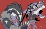 1boy bangs belt black_hair copyright_name cropped_jacket dated gen_8_pokemon gym_leader holding holding_microphone jacket long_hair long_sleeves looking_at_viewer male_focus microphone microphone_stand multicolored_hair obstagoon open_mouth piers_(pokemon) pointing pokemon pokemon_(creature) pokemon_(game) pokemon_masters_ex pokemon_swsh red_background simple_background teeth tongue two-tone_hair unko_yoshida white_jacket